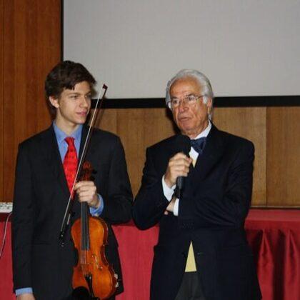 Il Presidente e Francesco prima dell'esibizione